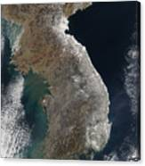Satellite View Of Snowfall Along South Canvas Print