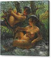 Savage Oil Painting Naked Female Canvas Print