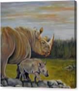 Savanna Overlook, Rhinoceros  Canvas Print