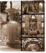 Savannah Landmarks In Sepia Canvas Print