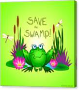 Save The Swamp Twitchy The Frog Canvas Print