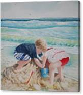Saving The Sand Castle From The Tide Canvas Print