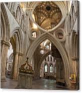 Saxon Baptismal Font Wells Cathedral, Somerset Uk Canvas Print