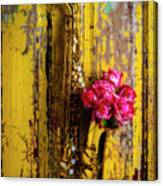Saxophone And Roses On Wall Canvas Print