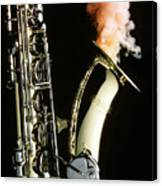Saxophone With Smoke Canvas Print