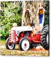 Scarecrow And Pumpkins 2 Canvas Print