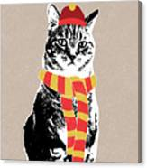 Scarf Weather Cat- Art By Linda Woods Canvas Print