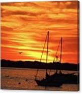 Scarlet Sunrise On Provincetown Pier 1  Canvas Print