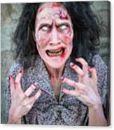 Scary Angry Zombie Woman Canvas Print
