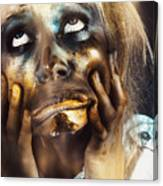Scary Zombie Pulling Funny Face  Canvas Print