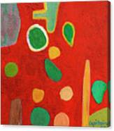 Scattered Things Over Red  Canvas Print