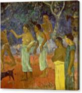 Scene From Tahitian Life Canvas Print