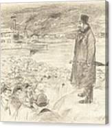 Scene Of A Strike (third Plate) Canvas Print