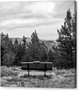 Scenic Bench In Black And White Canvas Print