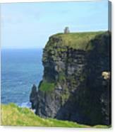 Scenic Lush Green Grass And Sea Cliffs Of Ireland Canvas Print