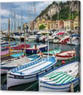 Scenic View Of Castle Hill And Marina In Nice, France Canvas Print