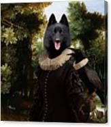 Schipperke Art Canvas Print - Forest Landscape With A Hunter And Noble Lady Canvas Print