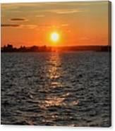 Schoodic Sunset With Island Lighthouse Canvas Print