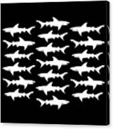 School Of Sharks Black And White Canvas Print