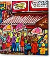 Schwartz's Deli Rainy Day Line-up Umbrella Paintings Montreal Memories April Showers Carole Spandau  Canvas Print