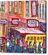Schwartz's Smoked Meat Deli On The Main Montreal Hockey Art Scenes School Bus Painting C Spandau Art Canvas Print
