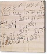Score Sheet Of Moonlight Sonata Canvas Print