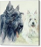 Scottie And Westie Canvas Print