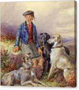 Scottish Boy With Wolfhounds In A Highland Landscape Canvas Print