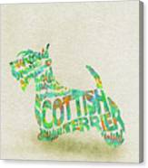 Scottish Terrier Dog Watercolor Painting / Typographic Art Canvas Print