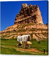 Scotts Bluff Wagon Train Panorama Canvas Print