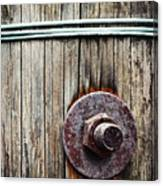 Screw Attached To A Wooden Beam Canvas Print