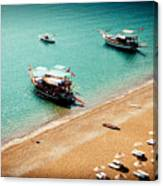Sea Boats In The Laguna Canvas Print
