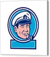 Sea Captain Smoking Pipe Circle Retro Canvas Print