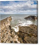 Sea Meets Rocks At Howick Canvas Print