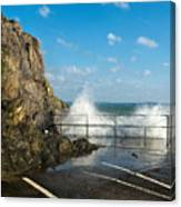 Sea Spray At Mevagissey Harbour Canvas Print
