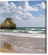 Sea Stack Sculpted Like A Ship Riding The Waves Canvas Print
