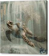 Sea Turtle Great Wave Canvas Print