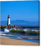Seabright Beach Lighthouse With Surf Canvas Print