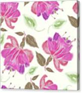 seamless   pattern of watercolor Fuchsia Flowers Canvas Print