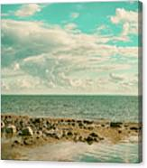 Seascape Cloudscape Retro Effect Canvas Print