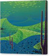 Seascape With Brain Coral And A Blue Striped Grunt Canvas Print