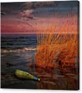 Seaside Bottle At Sunset Canvas Print