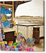 Seaside Buckets And Spades For Sale On Llandudno Pier Canvas Print
