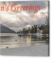Season's Greetings- Cabin On The Lake Canvas Print