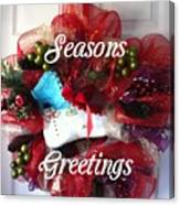 Seasons Greetings Old Skate Canvas Print