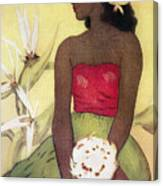 Seated Hula Dancer Canvas Print
