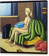 Seated Nude With Red Robe-framed Canvas Print
