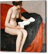 Seated Nude With Sculpture Canvas Print