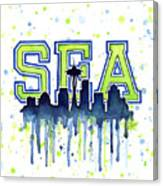 Seattle Watercolor 12th Man Art Painting Space Needle Go Seahawks Canvas Print