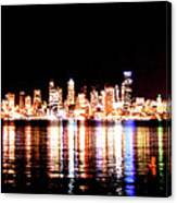 Seattle At Night - From Alki Beach Canvas Print